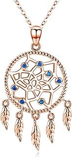 Native American Jewelry 925 Sterling Silver Dream Catcher Necklace,Feather Dream Catcher Necklace for Women