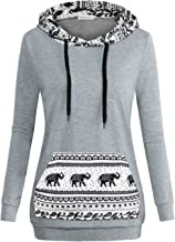 MOOSUNGEEK Women Patchwork Hoodie Sweatshirts with Elepant Pocket