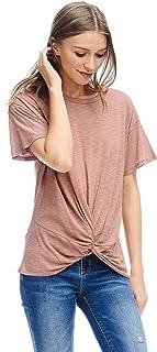 Alexander + David Womens Short Sleeve Slub Knot Top Casual Basic T-Shirt Blouse