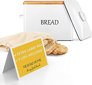 Bread Box for Kitchen Countertop with 2 Lids - Metallic Lid& Bamboo Lid - Large Bread Storage 13''x9.5''x7'' Holds 2+ Loav...