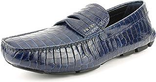 Prada Men's Croc-Embossed Leather Driving Loafer, Royal (Blue) 12 US / 11 UK