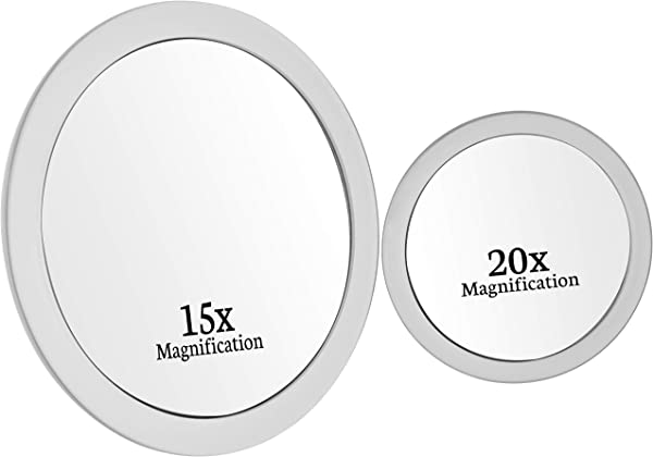 Mirrorvana 15X 20X Spot Magnifying Mirror Set With Suction Cups Compact Travel Ready 6 Inch 4 Inch Diameter