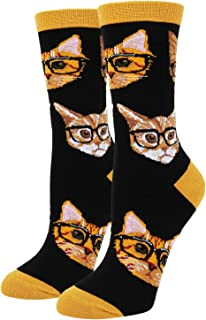 Women's Novelty Funny Unicorn Crew Socks, Crazy Corgi Alien Teeth Cat Food Socks