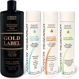 Gold Label Professional Results Brazilian Keratin Blowout Hair Treatment Enhanced Specifically Designed for Coarse Curly Black African Dominican Brazilian Hair (XL SET)