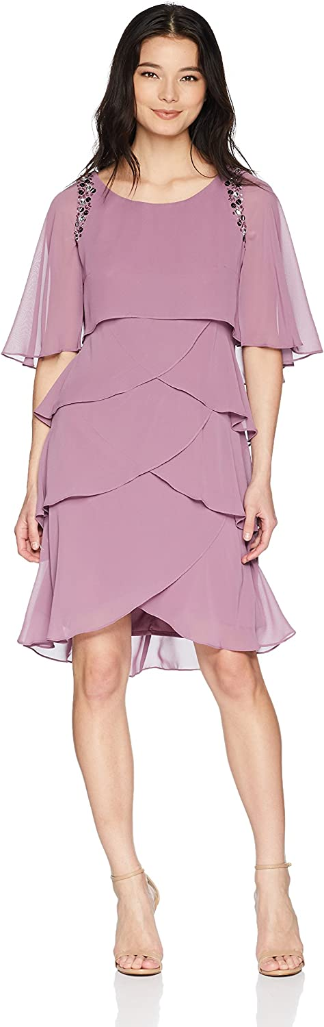 S.L. Fashions Womens Attached Cape Beaded Tier Dress (Petite and Regular Sizes) Special Occasion Dress