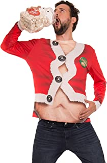 Faux Real Men's 3D Photo-Realistic Ugly Christmas Sweater & Holiday Long Sleeve T-Shirt