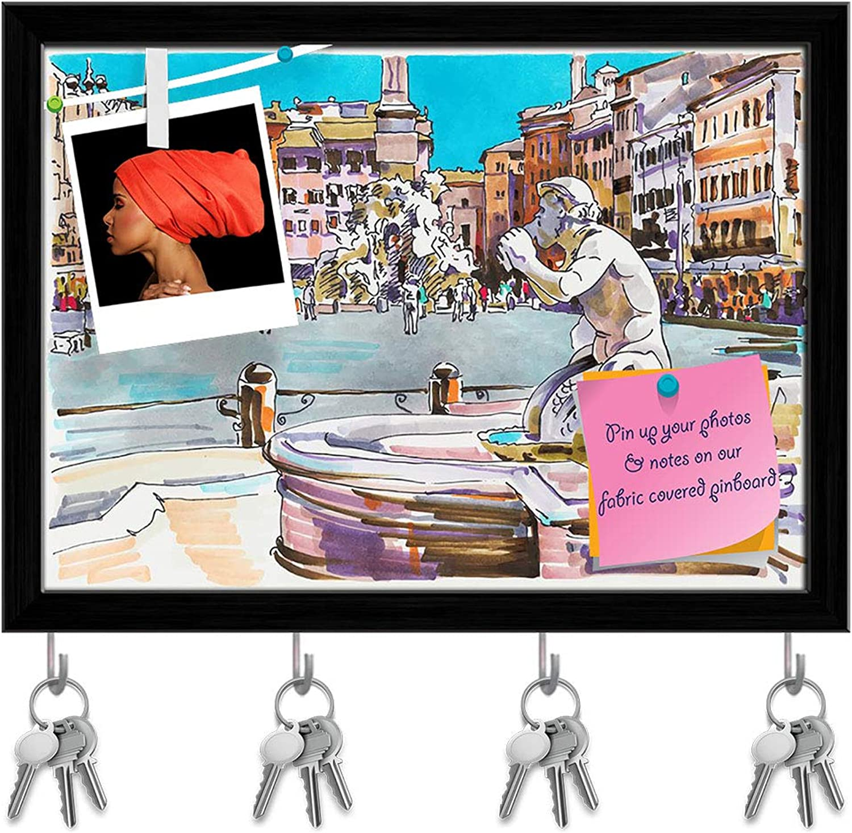 Artzfolio Artwork of Rome  Cityscape D6 Key Holder Hooks   Notice Pin Board   Black Frame 13.6 X 10Inch