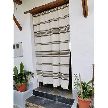 Cortina Alpujarreña Rustica,(160 x 215 cm), Crudo Marrón Color 103 Hecha en España, Fibra Natural de algodón - Cortina para Puerta Exterior mosquitera y Parasol: Amazon.es: Hogar