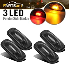 Partsam 2x Amber + 2x Red LED Fender Marker Replacement For DODGE 2003-2009 RAM 3500, Smoked Lens LED Fender Bed Side Marker Lights Set Assembly Replacement For Dodge RAM 2500 3500 HD Trucks
