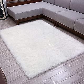 Softlife Faux Fur Sheepskin Area Rug Shaggy Wool Carpet for Bedroom Living Room Home Decor (3ft x 5ft,White)