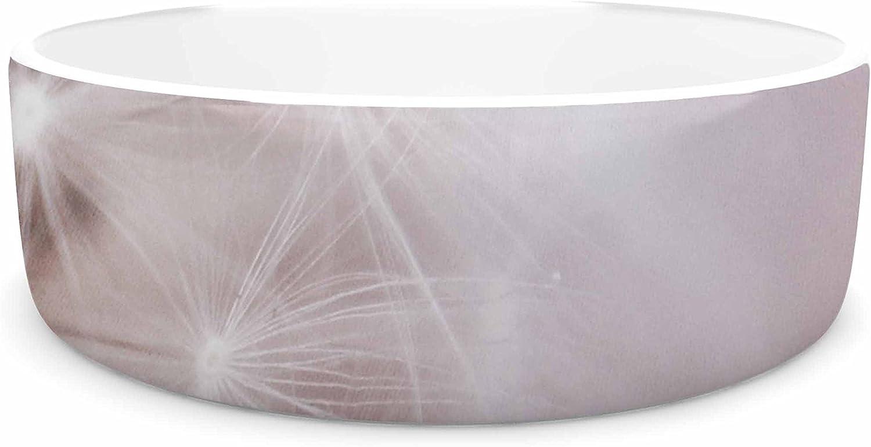 KESS InHouse Chelsea Victoria Dandelion Dreams  Floral White Pet Bowl, 7