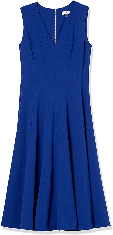 Calvin ※ラッピング ※ Klein Women's Sleeveless A-Line Dress Neckline V 上品 with