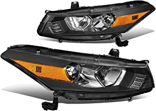 Pair Black Housing Amber Corner Headlight/Headlamps for 08-12 Honda Accord 2-DR Coupe