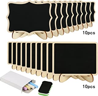 20pcs mini pizarra de madera KAKOO pizarra para boda de pizarra pequeña desmontable de pie y dos soportes para adornar mesa dulce, oficina, cafetería, plantas