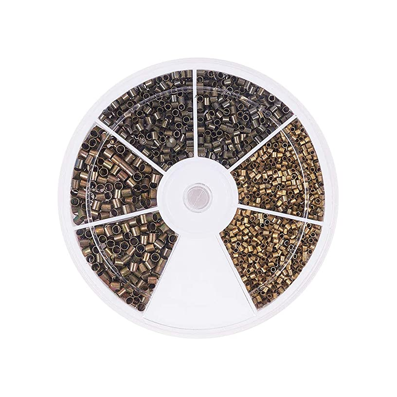 PandaHall Elite About 3000 Pcs Brass Tube Crimp Beads Cord End Caps Diameter 1.5mm 2mm 2.5mm Jewelry Making Antique Bronze