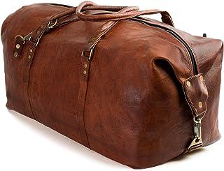 """Nama James"""" Weekender Echtes Leder Reisetasche Vintage Retro Sporttasche 60 cm 45 Liter für Damen und Herren Duffle Bag Schultertasche Naturleder Braun"""