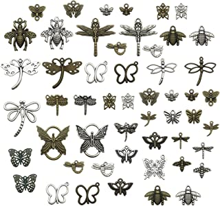 100g about (70-74pcs) Craft Supplies Mixed Butterfly Dragonfly Bee insect Pendants Beads Charms Pendants for Crafting, Jewelry Findings Making Accessory For DIY Necklace Bracelet (insect charms)