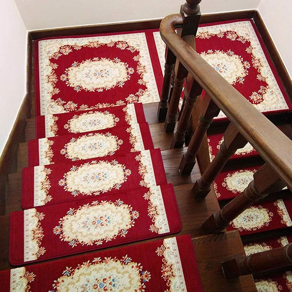 Jacquard Stair Tread Pad Self-Adhesive Flo Ranking TOP1 Carpet Don't miss the campaign Household Step