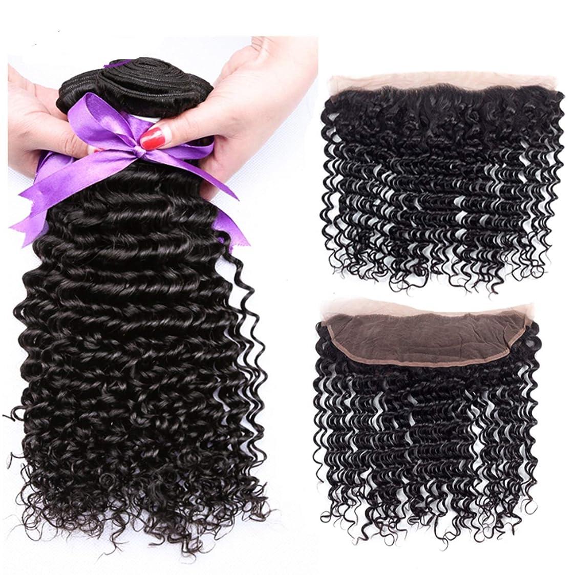 抜本的な質量セットアップブラジルのディープウェーブ3バンドルで13 * 4レース前頭閉鎖髪織りバンドル非レミー人間の髪の毛の拡張子 (Length : 10 12 14 Cl10)