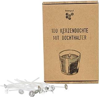 beegut Kerzendochte 100 Stück vorgewachst 10cm, optimales Brennverhalten für selbstgemachte Kerzen, inkl. Dochthalter