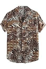 HTOOHTOOH Mens Stripe Linen Short Sleeve Button Down Shirt