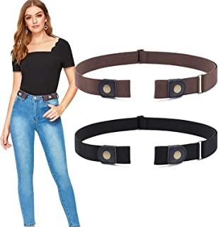 No Buckle Stretch Belt- Women Plus Size Buckle Free No Show Invisible Belt for Jeans Pants Set of 2