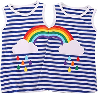 DEFAHN Toddler Baby Girls T-Shirt Rainbown Striped Printed Top Dress, 2Pcs Twins Sisters Matching Clothes Outfit