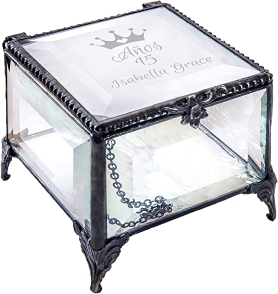 Personalized Quinceanera Jewlery Box Engraved Glass Keepsake Box Birthday Gift For Daughter Granddaughter Girl Friend Anos 15 Mis Quince J Devlin Box 326 EB249