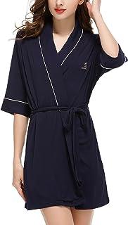 ملابس نوم Sissely للنساء قميص النوم 2 قطعة مجموعة منامة رداء حمام قصير الأكمام XS-XL