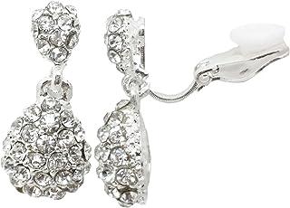 b74e0aa88 Drop CLIP ON Earrings Silver Plated Crystal Drop Dangle Womens Girls CZ  Gatsby Ladies