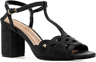 Andres Machado Sandalen/sandalen met hak voor dames, meisjes en jongens vrouwen AM5498 – blokhak en T-bar - EU 32 tot 35/4...