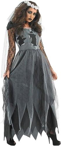 Zauberclown Damen Vampir Braut Kleid, Kostüm, Halloween, XXL, Grau