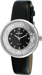 Peugeot Women's Genuine Diamond Marker Silver Tone Floating Crystal Watch