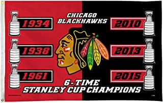 Rico Industries Chicago Blackhawks 6 Time Stanley Cup Champs NHL Pole Flag