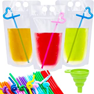 H.Yue 50 Pcs Drink Reusable Juice Pouches Smoothie Stand Up Disposable Plastic Zipper Drink Bags with 50 Straws & 1 Funnel - Non-Toxic, BPA Free (50 Pcs (Translucent))