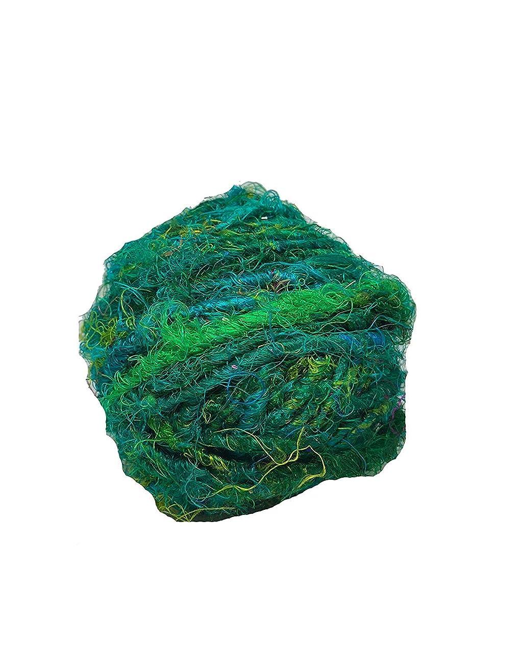 KNITSILK Premium Recycled Sari Silk Yarn - Green - 1 Ball, 90 Yards - Knit, Crochet, jewelery - Ethical Yarn