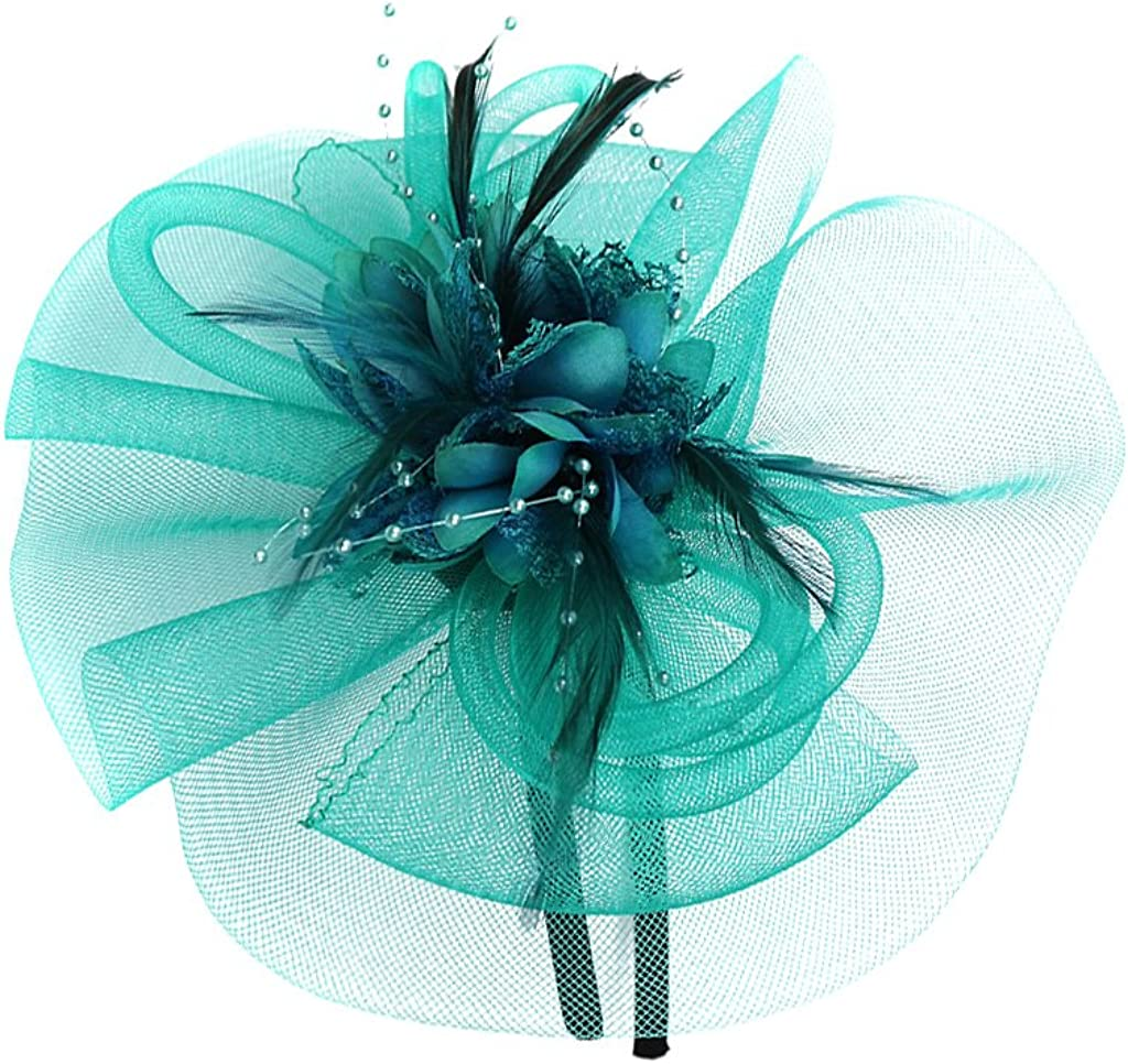 Dovewill Beautiful Women Lady Girls Fascinator Headband Veil Feather Hat for Cocktail Party Fancy Dress