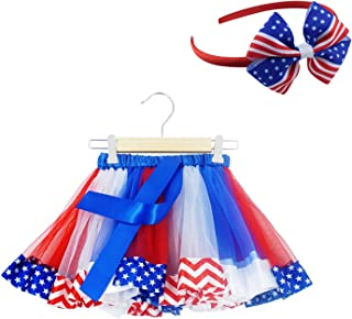 SunTrade 2 pcs Kids Girls American Flag Printed Tutu Skirt Dance Dress Holiday Set