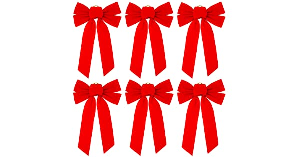 10 /× 16 Inches Elcoho 6 Pack Red Velvet Christmas Bow Holiday Bows for Christmas Home Decoration