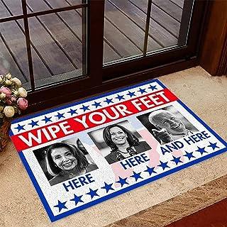 Nancy Pelosi Kamala Harris Wipe Joe Biden Your Feet Here Doormat 6 Sizes 100% Velvet, Anti Biden Doormat, Anti Joe Biden D...