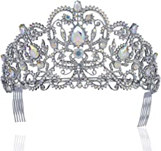 Janefashions Victorian Clear White Austrian Rhinestone Crystal Tiara Crown with Hair Combs Princess Queen Headband Headpiece Jewelry Beauty Contest Birthday Bridal Prom Pageant T1505