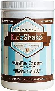 KidzShake - Kids Vanilla Cream Organic Protein Powder | Nutritional Meal Replacement Shake - Non GMO & Gluten Free w/ Probiotics, 12.13 oz