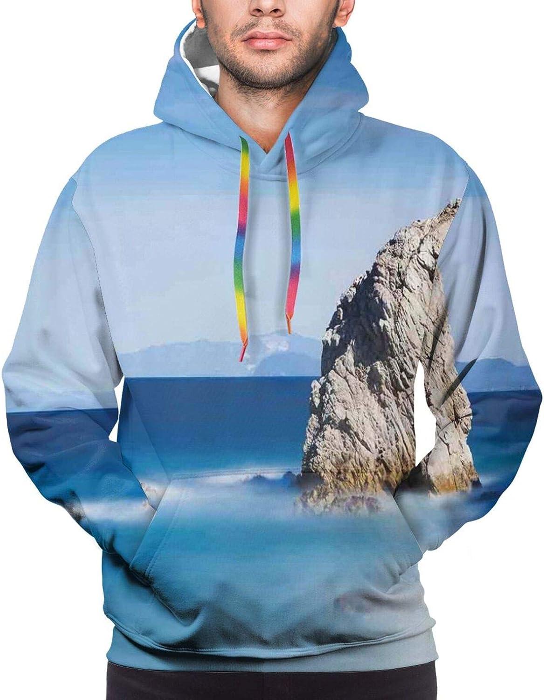 TENJONE Men's Hoodies Sweatshirts,Big Collection of Holiday Symbols Xmas Tree for Fun Party Seasonal Framework