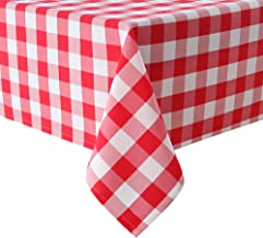 Homedocr Red Checkered Tablecloth Square for Outdoor Picnic, Dining - Water Resistant Washable Polyester Plaid Table Cloth, 60 x 60 Inch