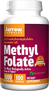 Jarrow Formulas Methyl Folate, Supports Brain, Memory, Cardiovascular Health, 1000 mcg, 100 Count