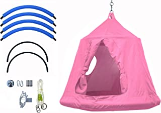 Outdoor Waterproof Backyard Play Center Hanging Tree House & Camping Hammock Tent Indoor Bedroom Swing Chair with Lamp String for Accommodating 2 Children - Pink