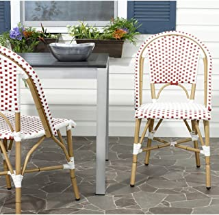 Safavieh Home Collection Salcha Red and White Indoor/Outdoor Stacking Side Chair (Set of 2)