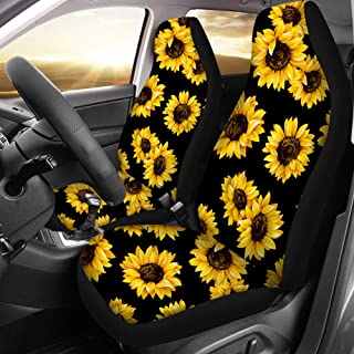 QIZHAOLAN Sunflower Cow Car Seat Covers Full Set Front and Back Split Bench Protection Combo Kit Universal Fit Vehicle Sedan Vehicle Truck Auto Interior Decor