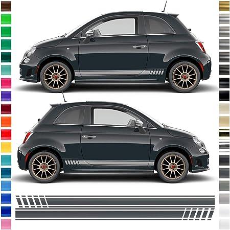 Auto Dress Seiten Streifen Aufkleber Set Dekor Passend Für Abarth 500 595 In Wunschfarbe Motiv Abarth Esseesse Schwarz Matt Auto