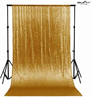 ShinyBeauty 5FTX7FT Gold Shimmer Sequin Fabric Photography Backdrop